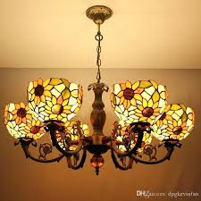 tiffany ceiling lights inch 6 heads retro pendant lights spider shade living room dining room light
