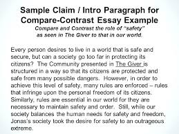 Compare Essay Examples College Of Comparison Contrast Example