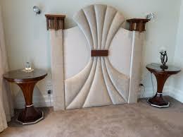 art deco furniture design. Furniture, Elegant White Art Decofurniture Design With Charming Artistic Headboard Decoration Combined Classical Deco Furniture