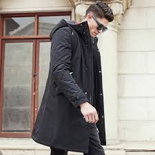 pioneer camp long winter jacket men brand clothing male cotton spring coat new top quality black