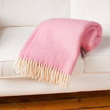 wool throw blanket in pink and lilac by jodie byrne
