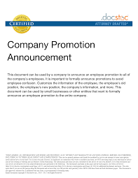 Employee Promotion Announcement Template Excel Po Template