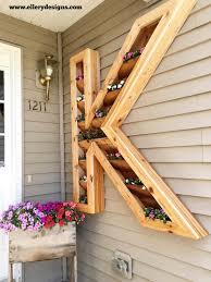 wood monogram mounted flower planter