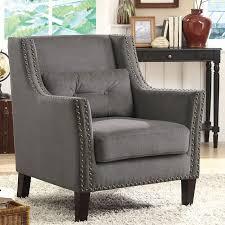 nailhead trim accent chair. Beautiful Nailhead Grey Accent Chair W Nailhead Trim And Pillow On