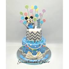 Baby Mickey Mouse In Pastel Blue Theme Boy 1st Birthday 3d Cake