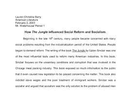 how the jungle influenced social reform and socialism a level  document image preview