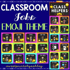 Classroom Jobs Chart Classroom Jobs Emoji Theme Job Chart