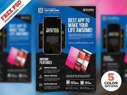 Make Flyer App Mobile App Flyer Design Psd Bundle Psdfreebies Com