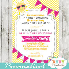 Pink Yellow You Are My Sunshine Baby Shower Invitation D161