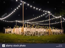 garden party lights diy. stock photo - usa, texas, outdoor wedding reception with party lights at night garden diy