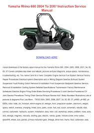 Yamaha Rhino 660 2004 To 2007 Instruction Ser by MaxMcginnis - issuu