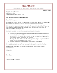 Cover Letter To University Admissions Counselor Cover Letter Sample