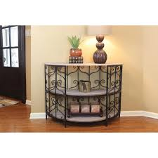 decor therapy cohen washed pine half round console table
