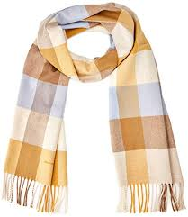 Gant Womens D2 Multi Check Scarf Honey Gold 759 One