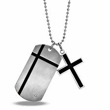 men s cubic zirconia cross dog tag pendant in stainless steel