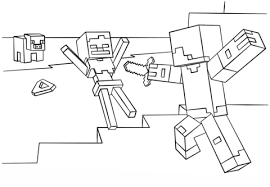 Small Picture Minecraft Steve vs Skeleton coloring page Free Printable