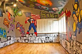 Superhero Room. Graffiti walls with Marvel and DC characters and outer  space ceiling. Hulk