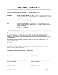 General Non Compete Agreement Template Word Pdf By