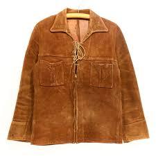 50s vintage nubuck fringe leatherette jacket 50s medium size brown leather jacket