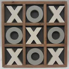 Wooden Naughts And Crosses Game 100cm Rustic Vintage Style Wooden Naughts Crosses Game Set With 16