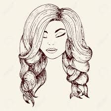 美しい髪ウェーブのかかった髪手描きスケッチ スタイルの女の子