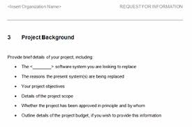 request for information template request for information rfi template