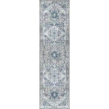 modern persian vintage medallion light grey blue 2 ft x 8 ft runner