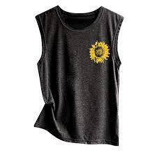 Uscharm Sunflower Print Sleeveless Blouse Womens Sleeveless