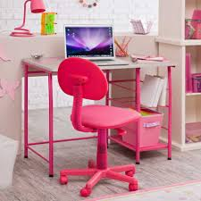 cute pink white color desks for kids hardwood floor room design finished with best cute chair with grey top of desk