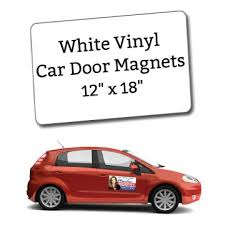 White Vinyl Car Door Magnets 12 X 18 Custom Magnets