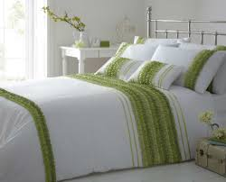 simple bedroom with striped ruffle lime green white color comforter