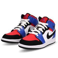 Details About Nike Air Jordan 1 Mid Gs Top 3 I Aj1 Hyper Royal Red Kid Women Shoes 554725 124