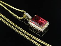 10k yellow gold royal red ruby real diamond charm pendant 1 05 35ct franco chn