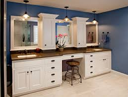 transitional bathroom ideas. This Transitional Master Is Featuring White Painted Inset Cabinetry With A Shaker Doors. The Double Vanity And Make-up Area Provide Plenty Of Storage, Bathroom Ideas
