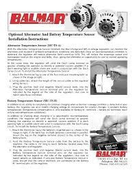 installation manual for balmar optional alternator and battery installation manual for balmar optional alternator and battery temperature sensor