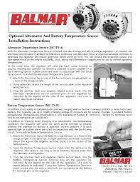 installation manual for balmar optional alternator and battery installation manual for balmar optional alternator and battery temperature sensor
