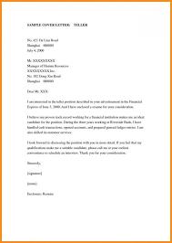 Teller Cover Letter Sample Application For Job In Bank Writing Teller Cover Letter Sample Head