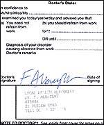 Fake Doctors Note With Stamp Bbc Sport Funny Old Game England Firms Sick Joke