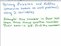 solving word problems series of videos math help and homework  two variable word problems 1 preview image