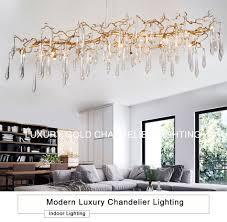 Großhandel Großhandel Moderne Luxus Kronleuchter Beleuchtung Gold Kupfer Hängenden Led Lustre Cristal Lampe Wohnzimmer Esszimmer Kristall Leuchte Von