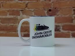 John deere tractors mug pink coffee cup ceramic tractor glass russ berrie 4.75. John Deere Snowmobile Logo Ceramic Coffee Mug