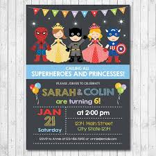 superheroes birthday party invitations princess superhero birthday party invitations superhero and princess