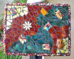 earthy owl stained glass mosaic wall
