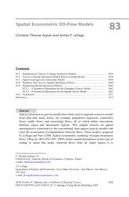 Spatial Econometric Od Flow Models Springer