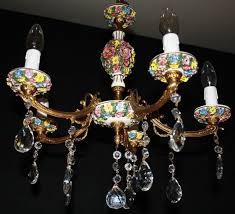 vintage french brass ceramic chandelier multicoloured ceiling light ref ajn28