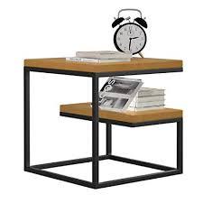 ZR- <b>Multifunctional</b> Bedside Table <b>Small</b> Side Table Iron <b>Wood</b> ...