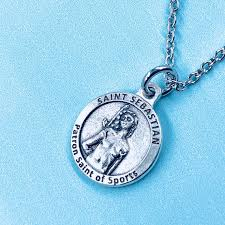 catholic patron st of athletes st sebastian baseball necklace with all things are possible baseball medal st sebastian medal pouch
