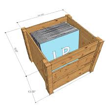 lp record storage crate drawing with dimensions opened