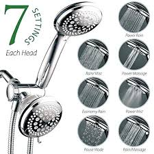 hotel spa shower head 3 way setting shower head and handheld shower combo with hose chrome