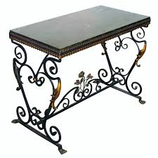 english oak pub table: italian wrought iron console table with st laurent marble top